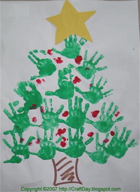 craft day christmas hand print tree