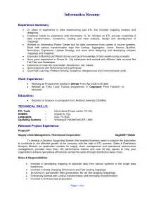 Etl Developer Sle Resume etl developer resume getessay biz
