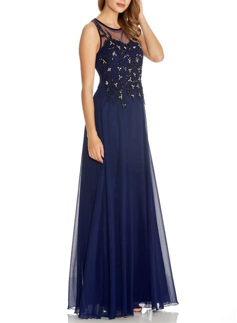 Marien Maxi Blue quiz navy chiffon lace sequin maxi dress in blue lyst