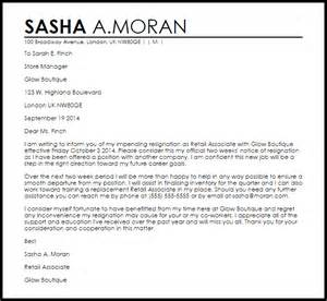 Sle Of A Resignation Letter by Retail Resignation Letter Resignation Letters Livecareer