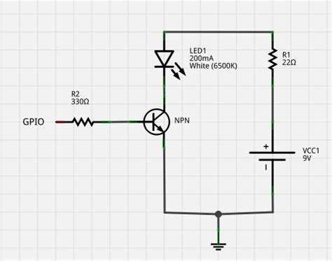 transistor led driver schematic voltage driving a high power 200ma led with a gpio and npn transistor electrical