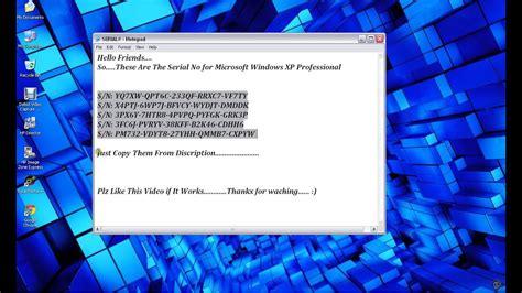 windows xp serial number key  working  orig youtube