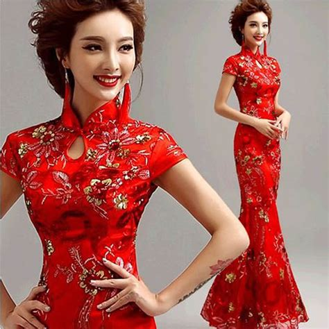 Dress Of The Day Golden Lace Qi Pao by Modern Traditional Dress Qipao Lace Ride