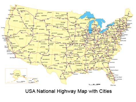 united states map with highways and cities top map of usa with states and cities images for