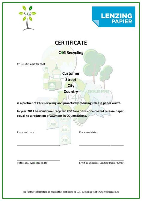 certificate of recycling template release paper liners recycling cycle4green