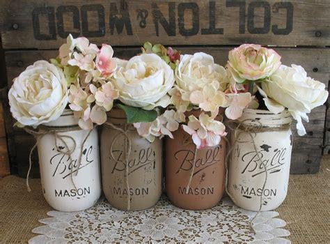 Vintage Flower Vases Wholesale Sale Set Of 4 Pint Mason Jars Ball Jars Painted Mason