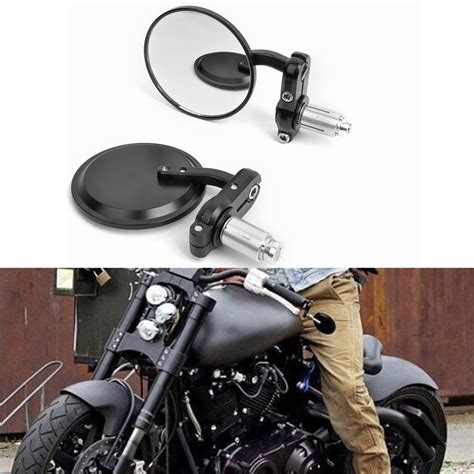 Black 7 8 Motorcycle Mirrors Handle Bar End For Honda Suzuki Yamaha C new cnc motorcycle 3 quot black 7 8 quot handle bar end mirrors cafe racer bobber clubman in side