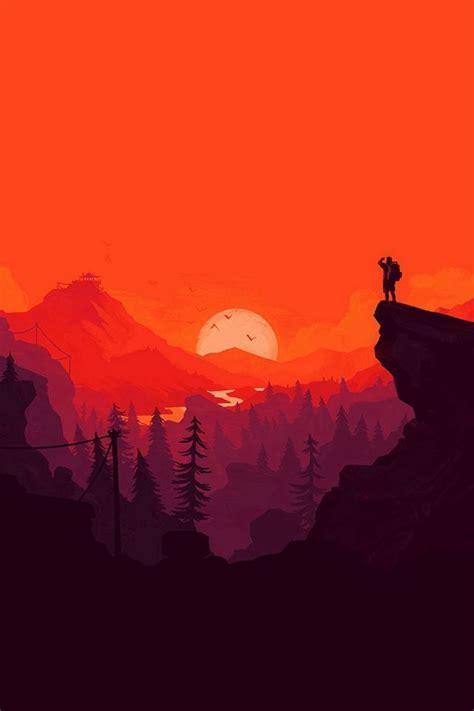 nature sunset simple minimal illustration art red iphone