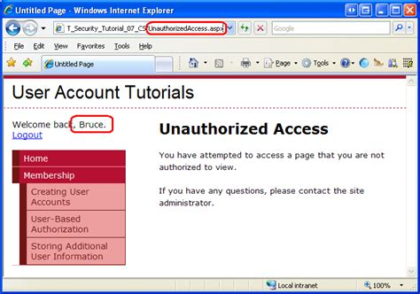 user based authorization c the asp net site