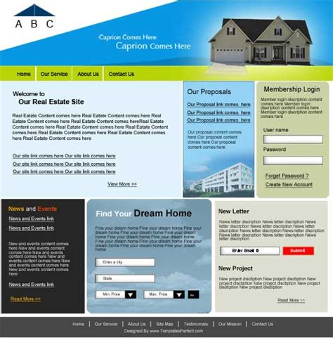 free real estate psd web template templates