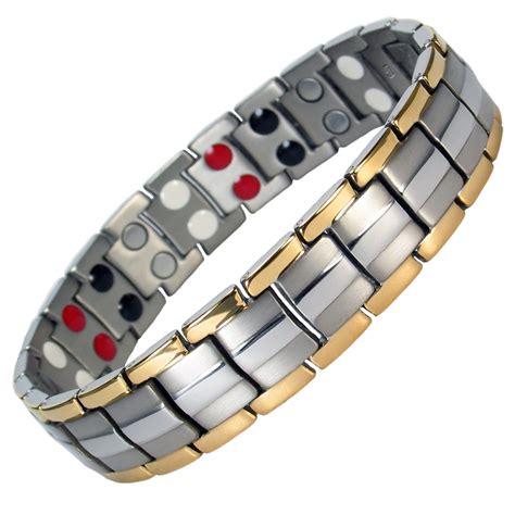 IonTopia® EUROPE GOLD SILVER Titanium & Germanium Magnetic Bracelet