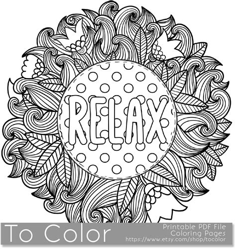 coloring pages relaxing relax coloring page for grown ups this is a printable