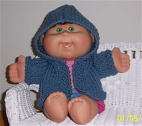 free knitting patterns for cabbage patch dolls clothes ravelry hooded sweater for a cabbage patch doll pattern