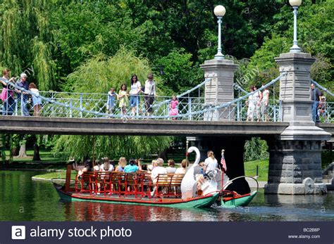 swan boats boston public garden swan boat passing under foot bridge in boston public