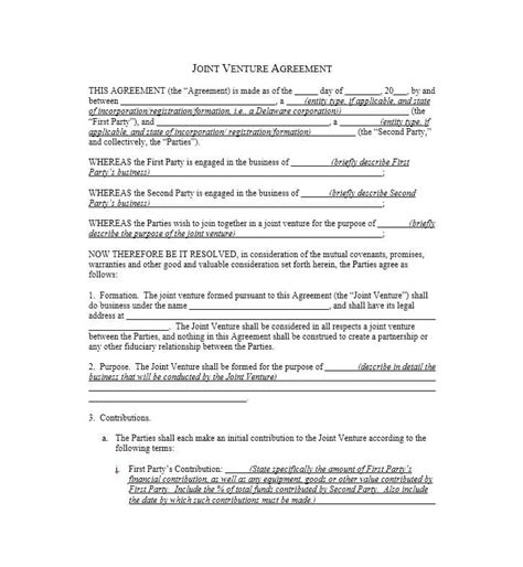 template of joint venture agreement 53 simple joint venture agreement templates pdf doc template lab
