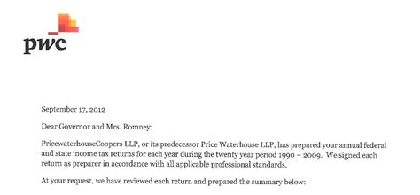 Support Letter Going Concern tbt pwc s letter to presidential candidate mitt romney
