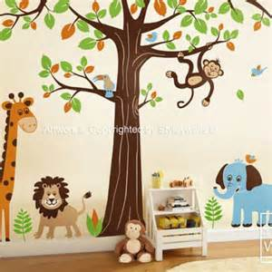 Nursery Wall Stickers Jungle Safari Wall Stickers 2017 Grasscloth Wallpaper