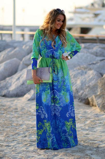Sephira Maxi dress sleeves blue blue dress floral