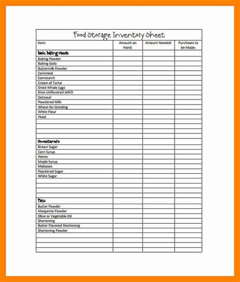 Food Storage Inventory Spreadsheet by 11 Inventory Sle Sheet Sales Clerked