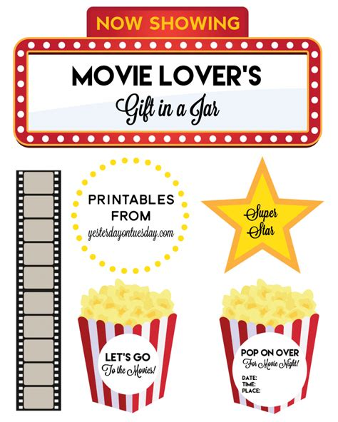printable gift cards theatres movie lover s gift in a jar yesterday on tuesday