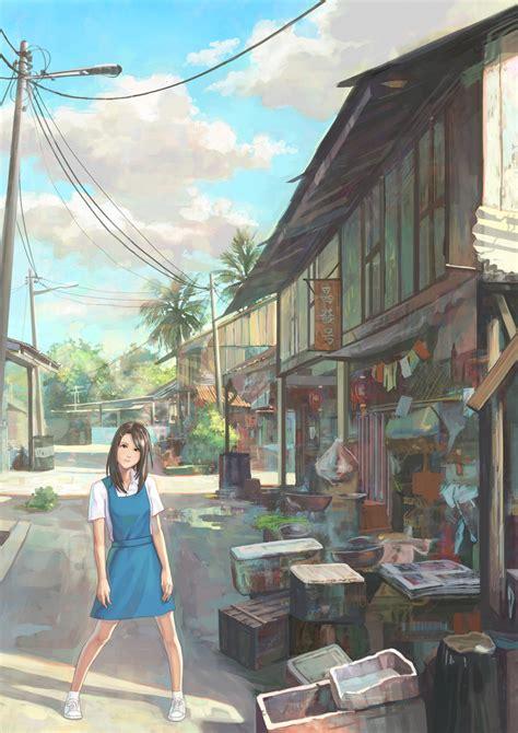 anime village wallpaper village schoolgirl by feigiap on deviantart