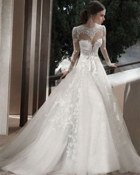 sheer applique wedding dresses bridal gowns