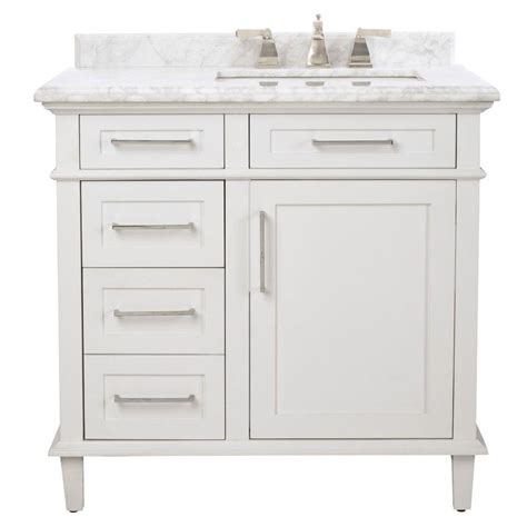 Glacier Bay Lancaster 36 In Vanity And Top In White Vanity Bathroom Home Depot