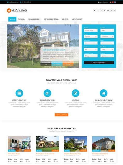 80 Best Real Estate Website Templates Free Premium Freshdesignweb Real Estate Page Template
