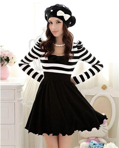 21898 Black Korean Stripe Dress 350 best images about korean dress on sleeve