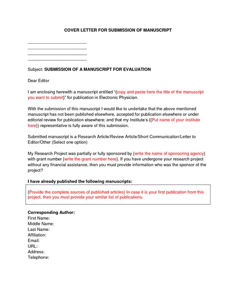 Business Letter Journal how to write a cover letter for authors cover letter