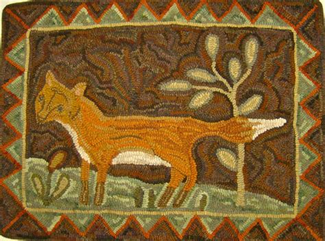 warren kimble rugs primitive fox hooked by loretta other hooked rugs primitives
