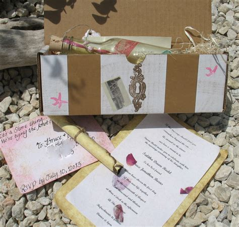 custom message in a bottle wedding invitations travels
