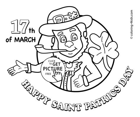March Coloring Pages Happy Saint Patric S Day Coloring Pages For Kids by March Coloring Pages