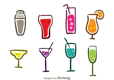 cocktail icon vector colorful cocktail icons free vector stock