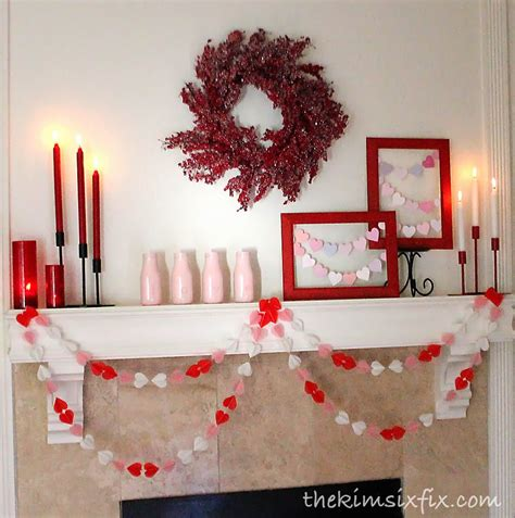 valentines mantel easy decor the crafting