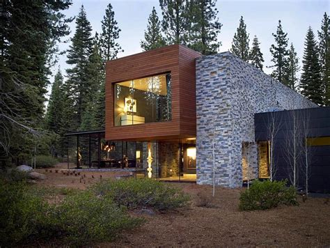 stone and glass house designs modern tahoe mountain retreat jamie bush co