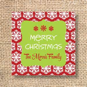 red snowflake printable personalized christmas gift tags