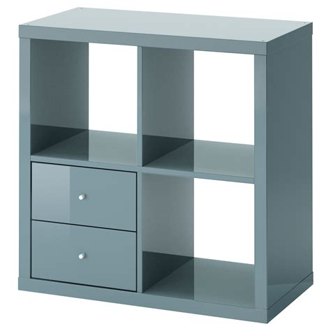 kallax shelving unit with drawers high gloss grey