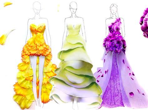petali di fiori bozzetti di moda creati con i petali di fiori