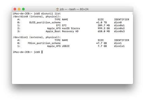 format gpt terminal formater sur mac avec le terminal sierra el capitan