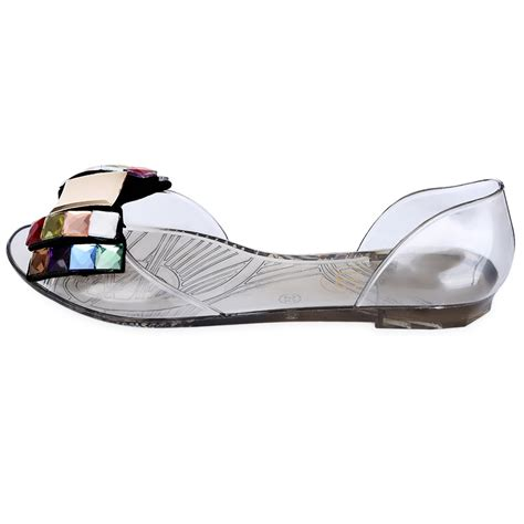 plastic shoes womens bowknot of jelly shoes open toed plastic sandals