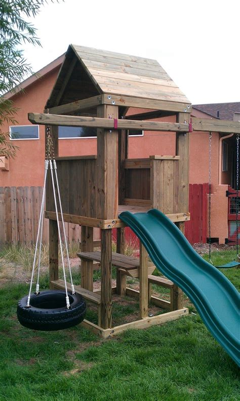 roof swing 4 x4 clubhouse with wooden roof ladder entry standard