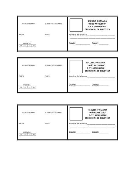 formato para credenciales de trabajo credencial de la biblioteca