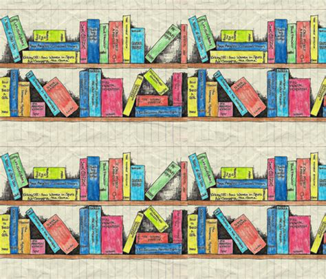 feminist bookshelf fabric mandy b spoonflower