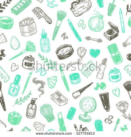 vector pattern maker beauty products tools hand drawn vector stock vector