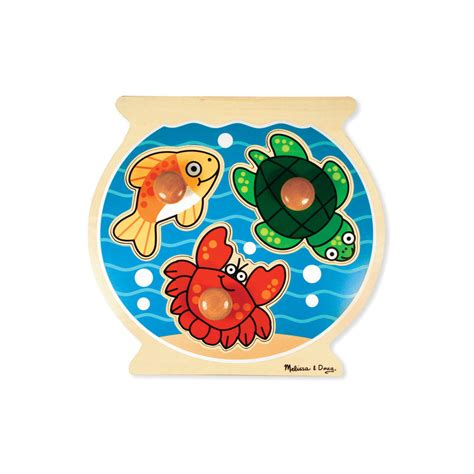 And Doug Knob Puzzles by And Doug Fish Bowl Jumbo Knob Puzzle 3 Pieces