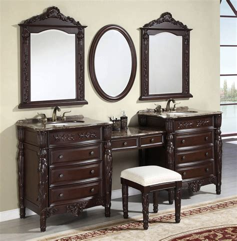 Brilliant Two Bathroom Vanities With Tops Grey Marble Taps Bathroom Vanities