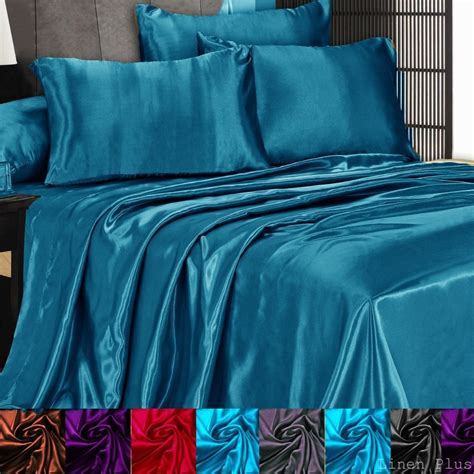 silk bed sheets queen 3 pc satin silky sheet set queen king size fitted pillows