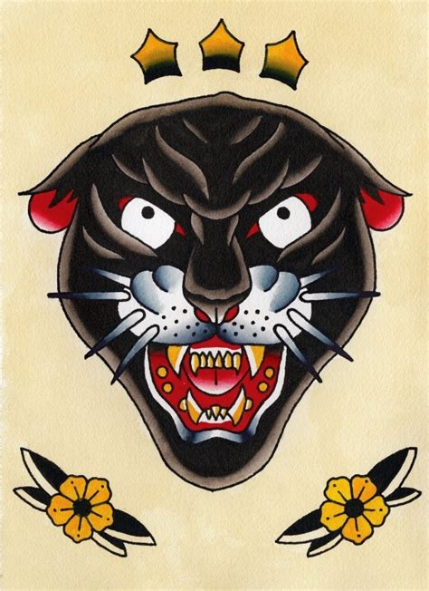 old panther head with stars and flowers tattoo