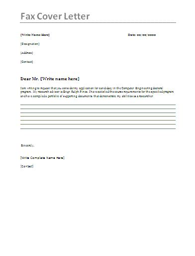 Fax Cover Letter Format cover for fax letter for california high school students